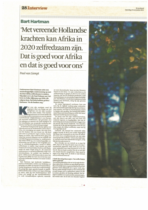 Interview with Bart in Dutch Financial Times