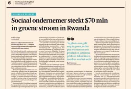 Sociaal ondernemer steekt $70 mln in groene stroom in Rwanda